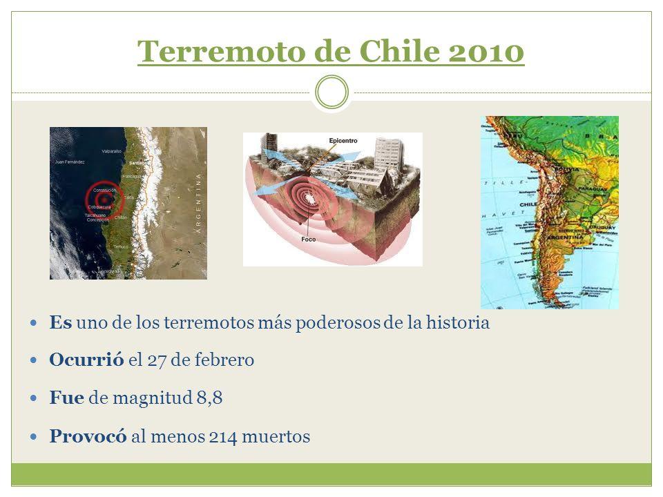Terremoto de Chile 2010 Demolió miles de viviendas, autopistas, puentes y hospitales Cortó los servicios eléctricos y telefónicos en la capital, Santiago Originó un tsunami que avanzó a Hawái