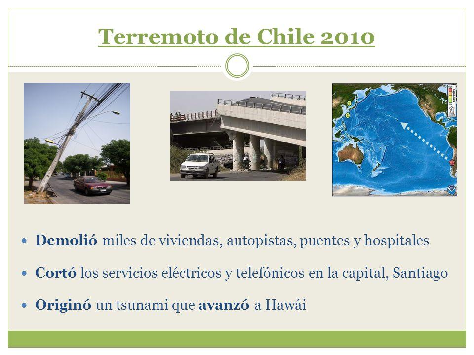 Terremoto de Chile 2010 Demolió miles de viviendas, autopistas, puentes y hospitales Cortó los servicios eléctricos y telefónicos en la capital, Santi