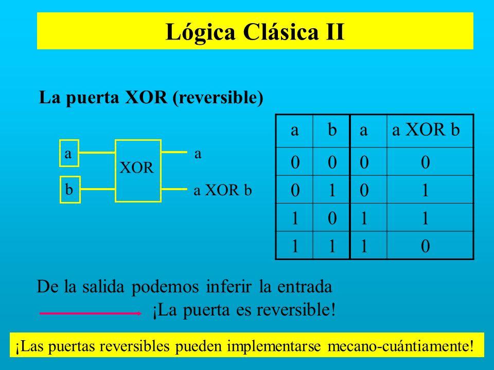 La puerta XOR (reversible) De la salida podemos inferir la entrada ¡La puerta es reversible! a b aa XOR b 0 0 0 0 0 1 0 1 1 0 1 1 1 1 1 0 ¡Las puertas