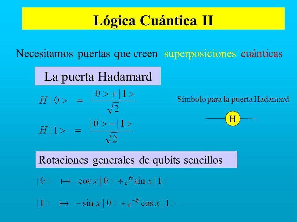 Lógica Cuántica II Necesitamos puertas que creen superposiciones cuánticas La puerta Hadamard H Rotaciones generales de qubits sencillos Símbolo para