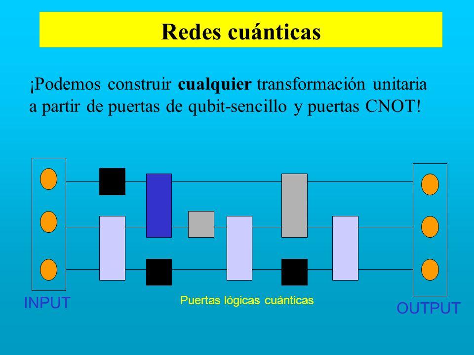 Redes cuánticas Puertas lógicas cuánticas INPUT OUTPUT ¡Podemos construir cualquier transformación unitaria a partir de puertas de qubit-sencillo y pu