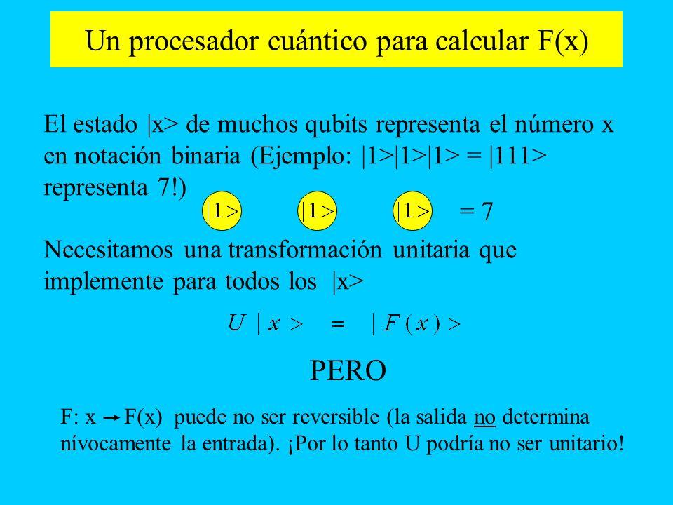 Un procesador cuántico para calcular F(x) El estado |x> de muchos qubits representa el número x en notación binaria (Ejemplo: |1>|1>|1> = |111> repres