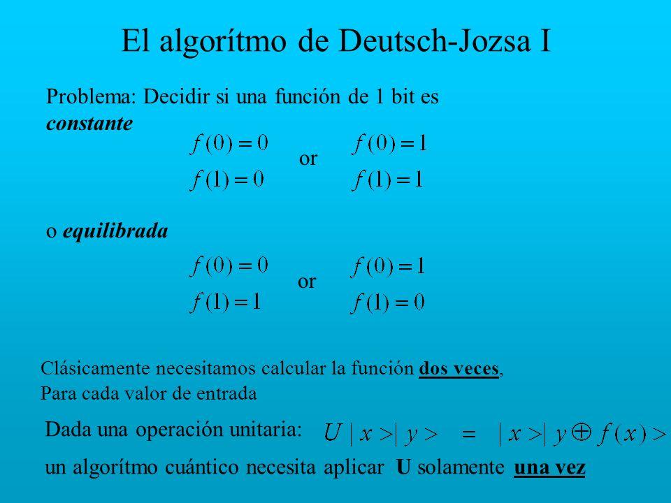 El algorítmo de Deutsch-Jozsa I Problema: Decidir si una función de 1 bit es constante o equilibrada or Clásicamente necesitamos calcular la función d