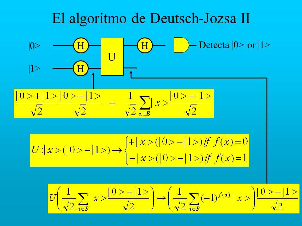 El algorítmo de Deutsch-Jozsa II H |0> |1> H H U Detecta |0> or |1>