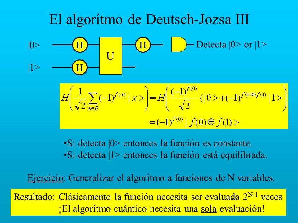 Resultado: Clásicamente la función necesita ser evaluada 2 N-1 veces ¡El algorítmo cuántico necesita una sola evaluación! El algorítmo de Deutsch-Jozs