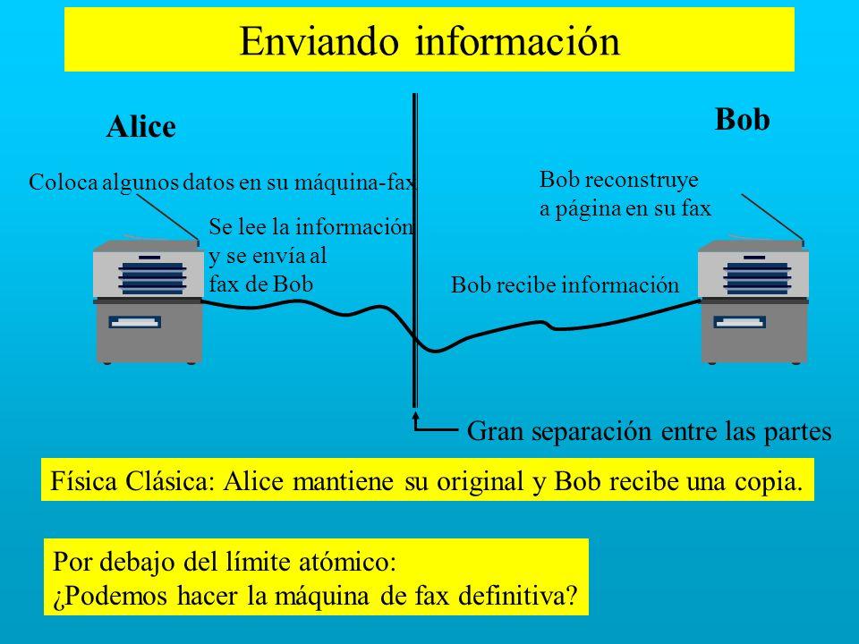 Enviando información Alice Bob Gran separación entre las partes Coloca algunos datos en su máquina-fax Se lee la información y se envía al fax de Bob