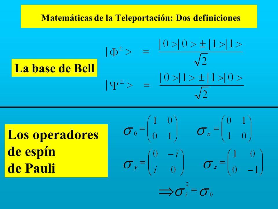 Matemáticas de la Teleportación: Dos definiciones Los operadores de espín de Pauli La base de Bell