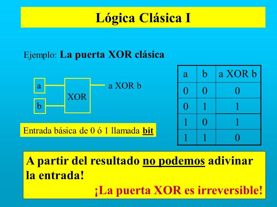 Lógica Clásica I a ba XOR b 0 0 0 0 1 1 1 0 1 1 1 0 Ejemplo: La puerta XOR clásica A partir del resultado no podemos adivinar la entrada! ¡La puerta X