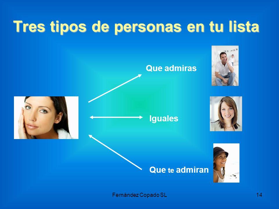 Tres tipos de personas en tu lista Que admiras Que te admiran Iguales Fernández Copado SL14