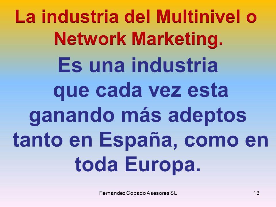 Es una industria que cada vez esta ganando más adeptos tanto en España, como en toda Europa. Fernández Copado Asesores SL13