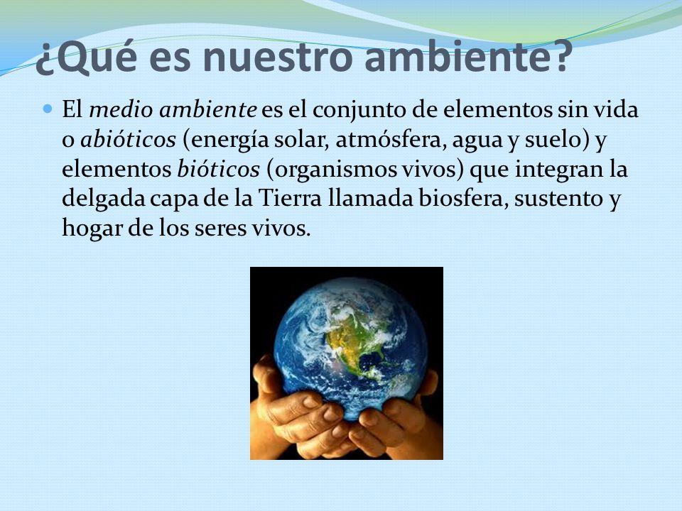 ¿Qué es nuestro ambiente? El medio ambiente es el conjunto de elementos sin vida o abióticos (energía solar, atmósfera, agua y suelo) y elementos biót