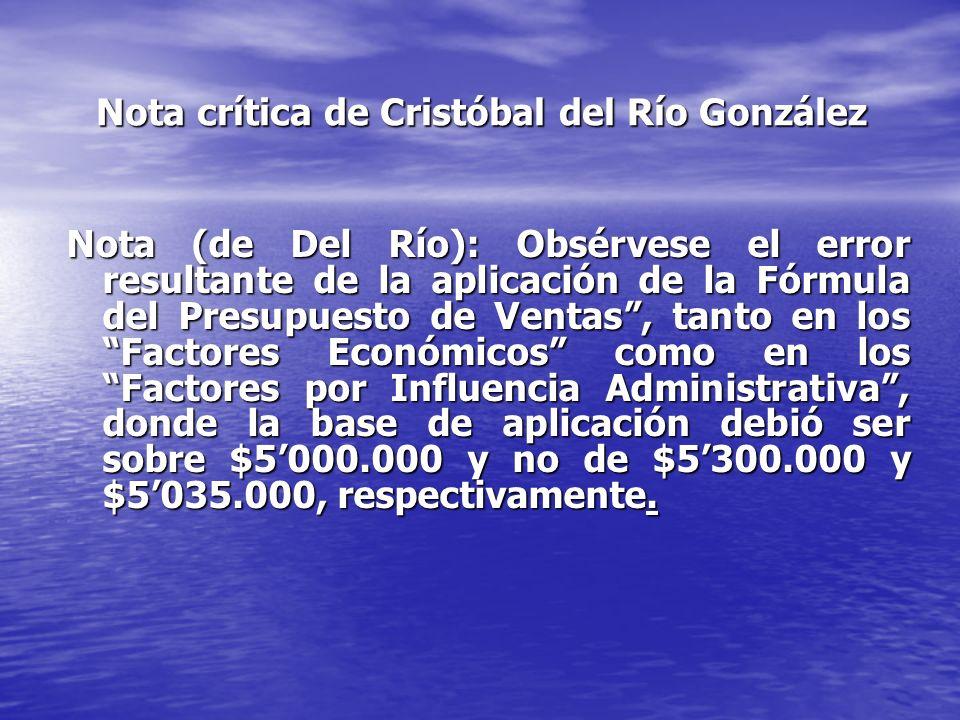 Nota crítica de Cristóbal del Río González Nota (de Del Río): Obsérvese el error resultante de la aplicación de la Fórmula del Presupuesto de Ventas, tanto en los Factores Económicos como en los Factores por Influencia Administrativa, donde la base de aplicación debió ser sobre $5000.000 y no de $5300.000 y $5035.000, respectivamente.