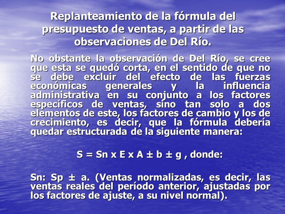 Replanteamiento de la fórmula del presupuesto de ventas, a partir de las observaciones de Del Río.