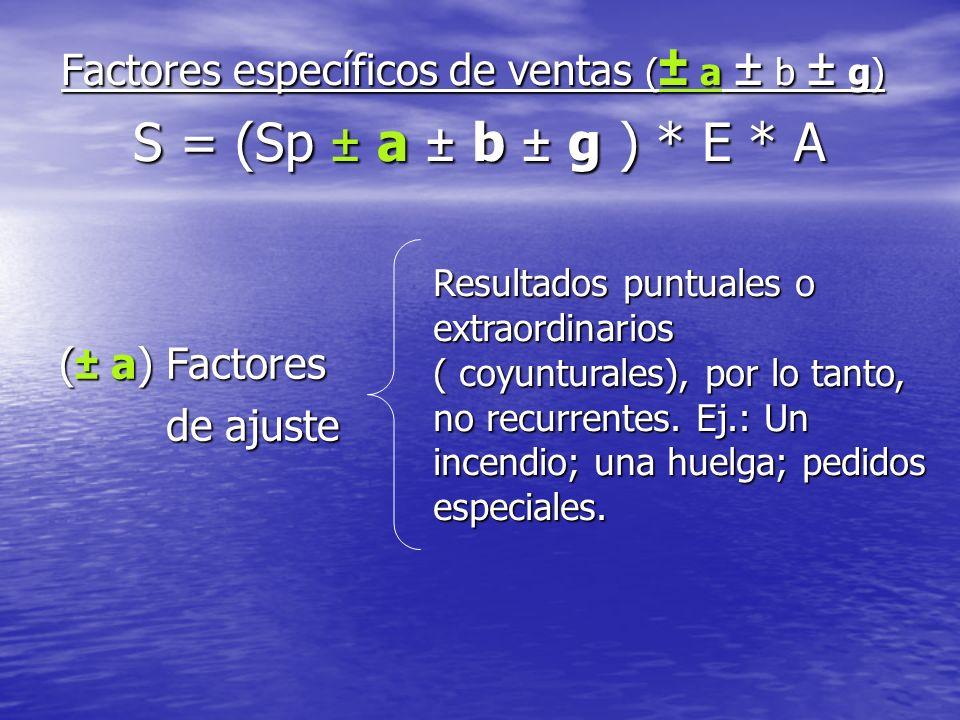 Factores específicos de ventas ( ± a ± b ± g) S = (Sp ± a ± b ± g ) * E * A ( ± a) Factores de ajuste de ajuste Resultados puntuales o extraordinarios ( coyunturales), por lo tanto, no recurrentes.