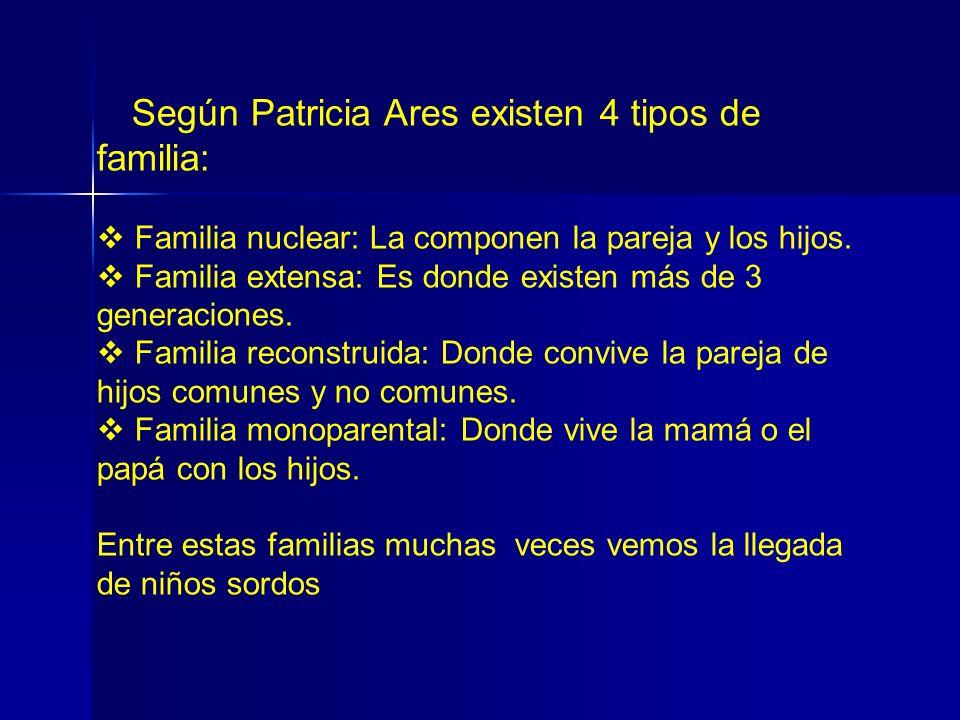 Según Patricia Ares existen 4 tipos de familia: Familia nuclear: La componen la pareja y los hijos. Familia extensa: Es donde existen más de 3 generac