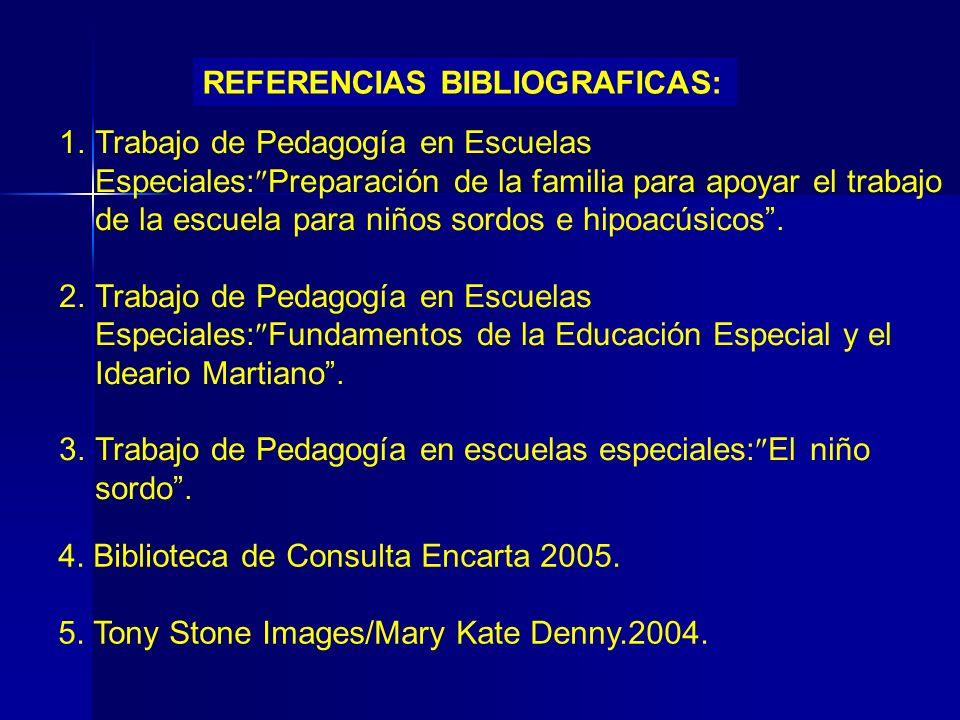 REFERENCIAS BIBLIOGRAFICAS: 1.Trabajo de Pedagogía en Escuelas Especiales: Preparación de la familia para apoyar el trabajo de la escuela para niños s