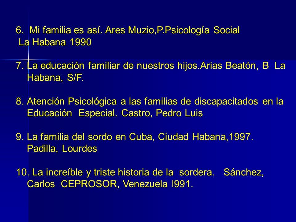 6. Mi familia es así. Ares Muzio,P.Psicología Social La Habana 1990 7.La educación familiar de nuestros hijos.Arias Beatón, B La Habana, S/F. 8.Atenci