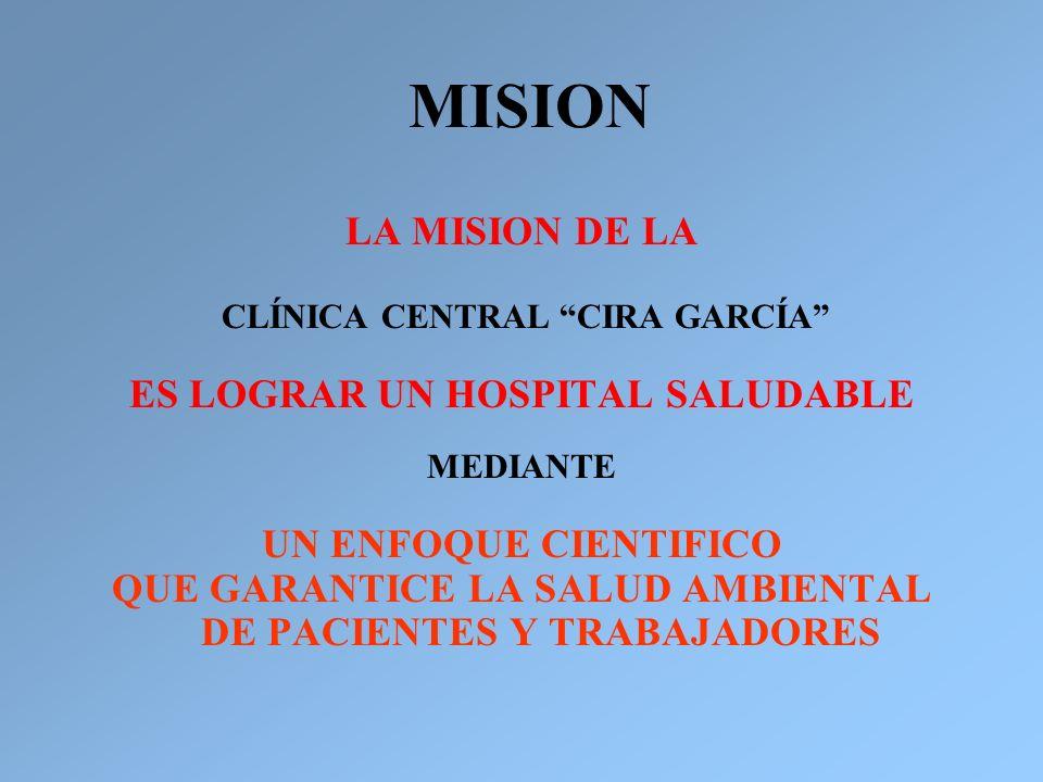 MISION LA MISION DE LA CLÍNICA CENTRAL CIRA GARCÍA ES LOGRAR UN HOSPITAL SALUDABLE MEDIANTE UN ENFOQUE CIENTIFICO QUE GARANTICE LA SALUD AMBIENTAL DE