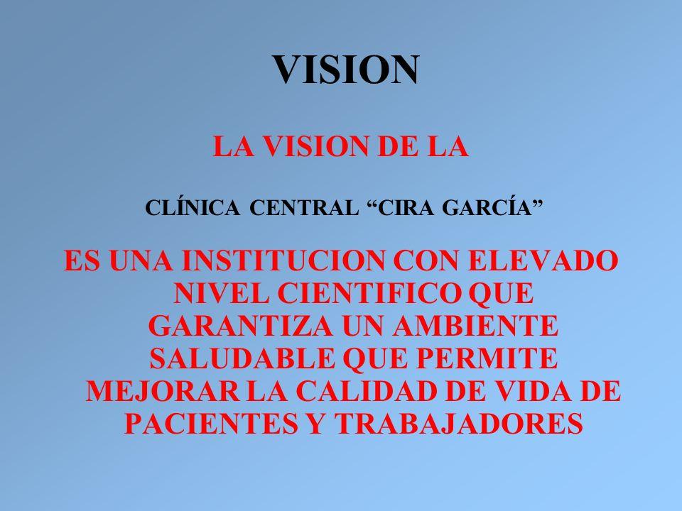 VISION LA VISION DE LA CLÍNICA CENTRAL CIRA GARCÍA ES UNA INSTITUCION CON ELEVADO NIVEL CIENTIFICO QUE GARANTIZA UN AMBIENTE SALUDABLE QUE PERMITE MEJ