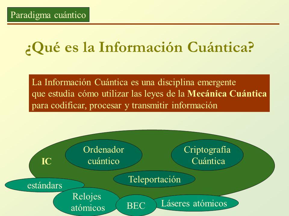 ¿Qué es la Información Cuántica? Paradigma cuántico La Información Cuántica es una disciplina emergente que estudia cómo utilizar las leyes de la Mecá