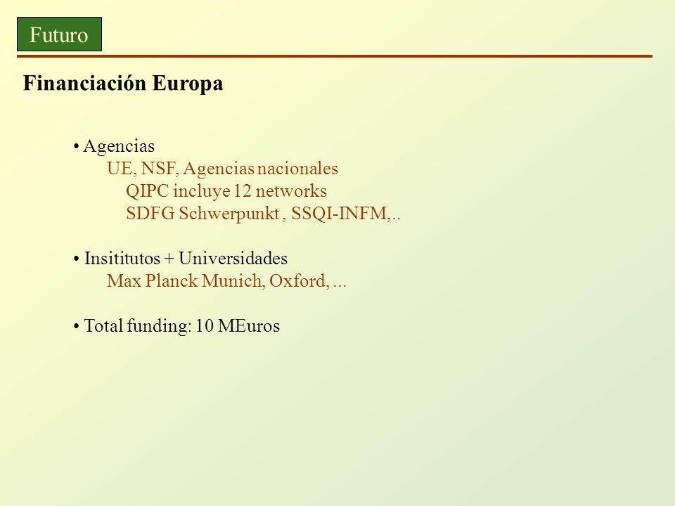 Futuro Financiación Europa Agencias UE, NSF, Agencias nacionales QIPC incluye 12 networks SDFG Schwerpunkt, SSQI-INFM,.. Insititutos + Universidades M