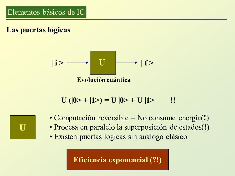 Elementos básicos de IC Las puertas lógicas | i > U | f > Evolución cuántica Computación reversible = No consume energía(!) Procesa en paralelo la sup