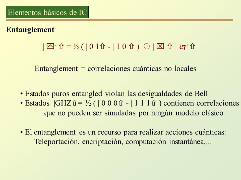 Elementos básicos de IC Entanglement | - = ½ ( | 0 1 - | 1 0 ) | | Entanglement = correlaciones cuánticas no locales Estados puros entangled violan la