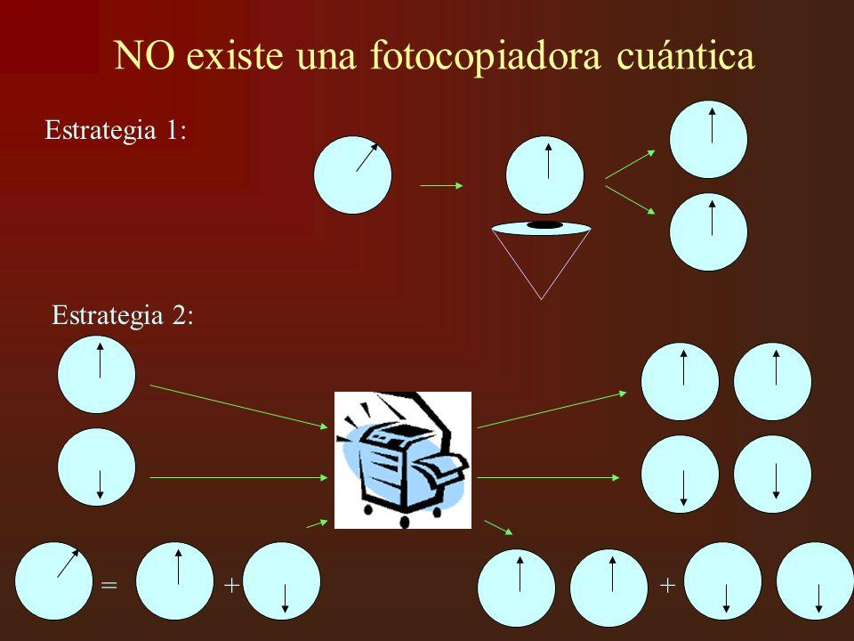 NO existe una fotocopiadora cuántica Estrategia 1: Estrategia 2: = + +