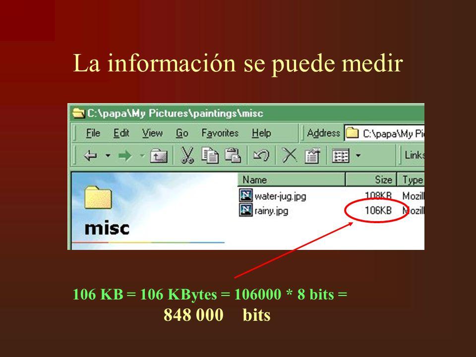 La información se puede medir 106 KB = 106 KBytes = 106000 * 8 bits = 848 000 bits