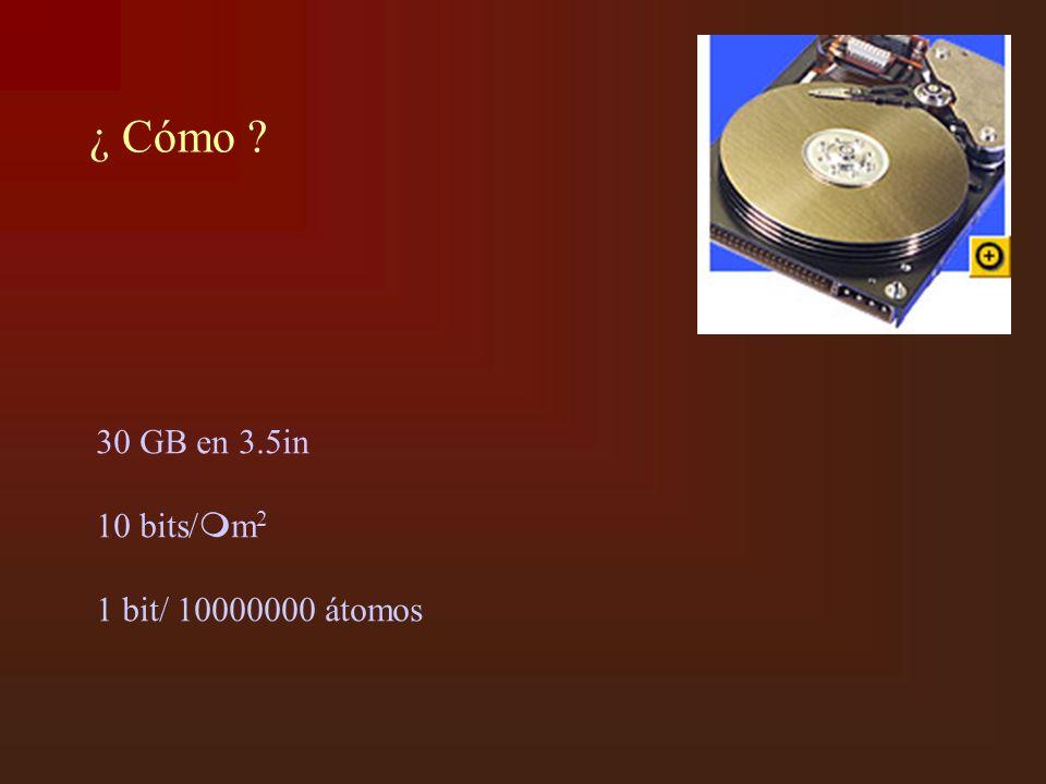 ¿ Cómo ? 30 GB en 3.5in 10 bits/ m 2 1 bit/ 10000000 átomos