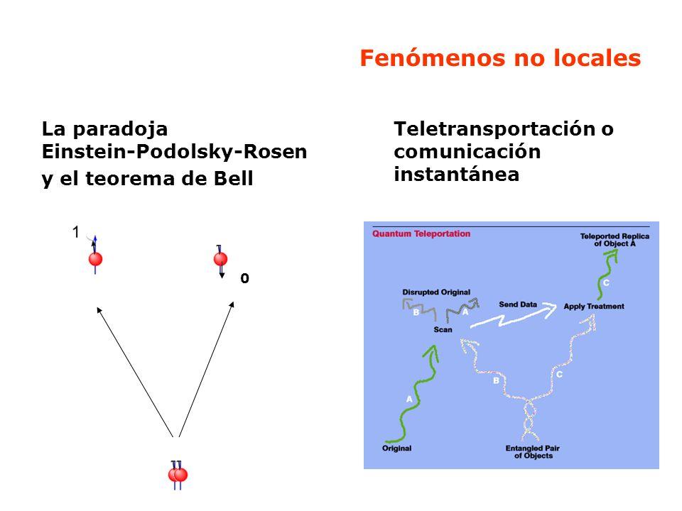 Fenómenos no locales La paradoja Einstein-Podolsky-Rosen y el teorema de Bell Teletransportación o comunicación instantánea 0