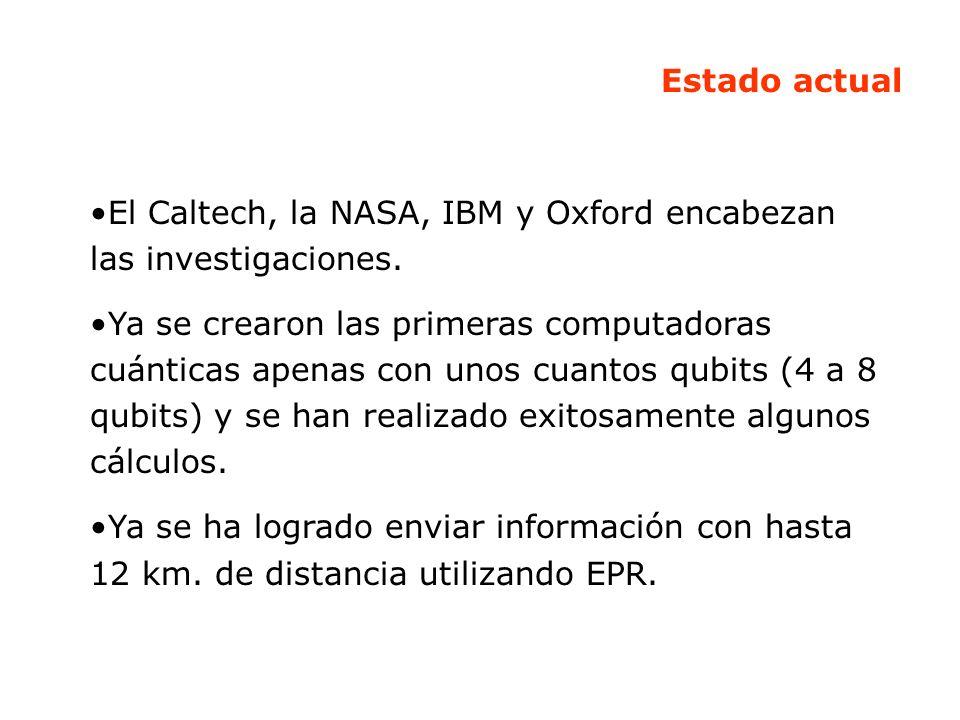 Estado actual El Caltech, la NASA, IBM y Oxford encabezan las investigaciones. Ya se crearon las primeras computadoras cuánticas apenas con unos cuant