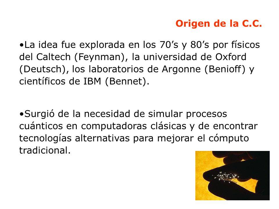 Origen de la C.C. La idea fue explorada en los 70s y 80s por físicos del Caltech (Feynman), la universidad de Oxford (Deutsch), los laboratorios de Ar