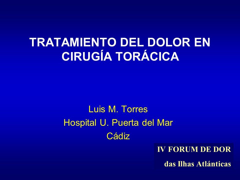 TRATAMIENTO DEL DOLOR EN CIRUGÍA TORÁCICA Luis M. Torres Hospital U. Puerta del Mar Cádiz IV FORUM DE DOR das Ilhas Atlánticas