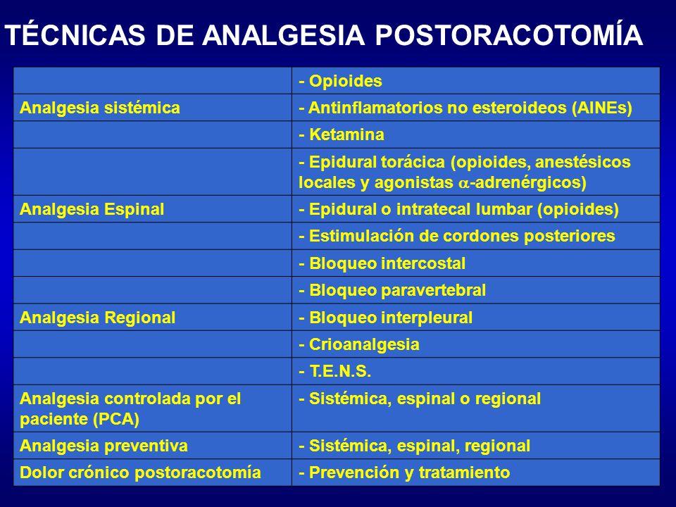 TÉCNICAS DE ANALGESIA POSTORACOTOMÍA - Opioides Analgesia sistémica- Antinflamatorios no esteroideos (AINEs) - Ketamina - Epidural torácica (opioides,