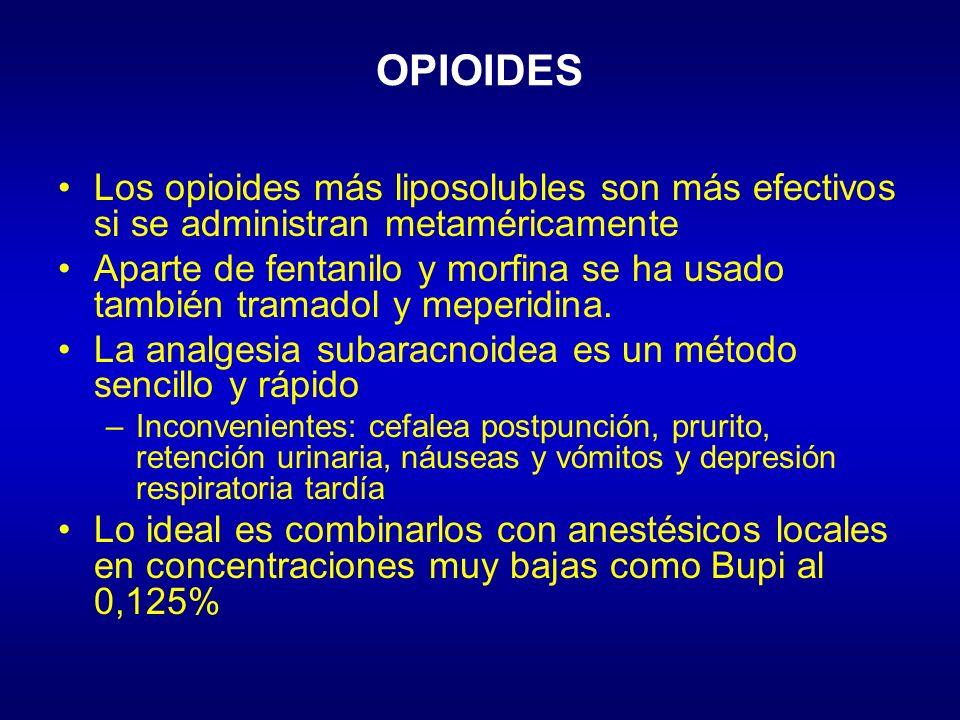 OPIOIDES Los opioides más liposolubles son más efectivos si se administran metaméricamente Aparte de fentanilo y morfina se ha usado también tramadol