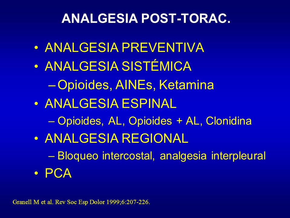 ANALGESIA POST-TORAC.