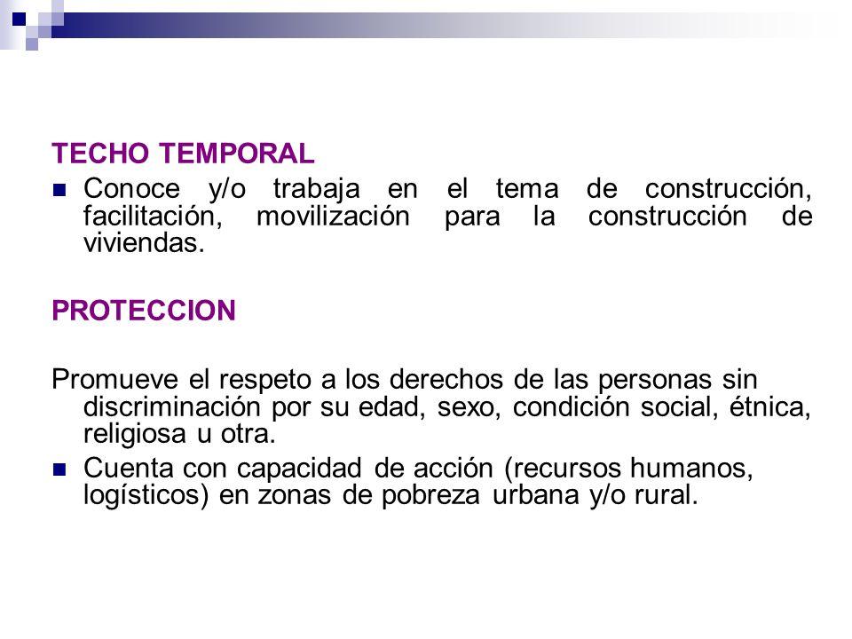 TECHO TEMPORAL Conoce y/o trabaja en el tema de construcción, facilitación, movilización para la construcción de viviendas.