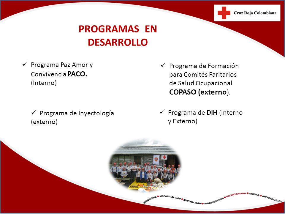 PROGRAMAS EN DESARROLLO Programa Paz Amor y Convivencia PACO. (Interno) Programa de Inyectología (externo) Programa de DIH (interno y Externo) Program
