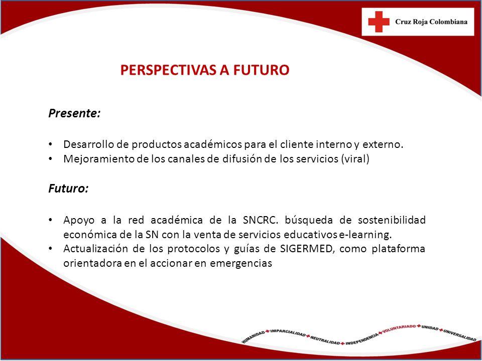 PERSPECTIVAS A FUTURO Presente: Desarrollo de productos académicos para el cliente interno y externo. Mejoramiento de los canales de difusión de los s