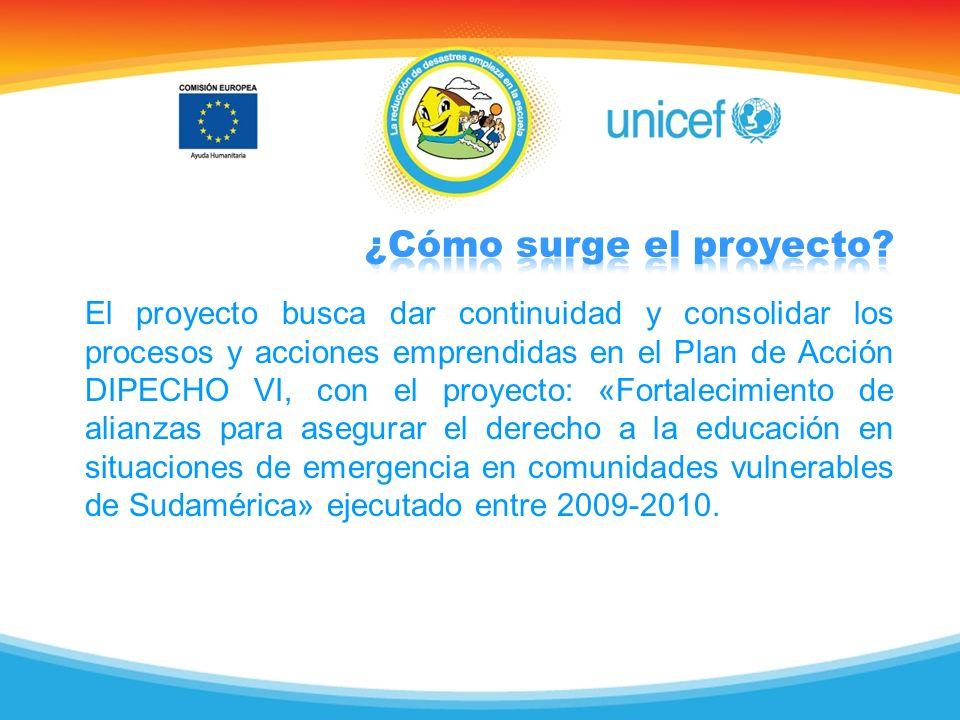 El proyecto busca dar continuidad y consolidar los procesos y acciones emprendidas en el Plan de Acción DIPECHO VI, con el proyecto: «Fortalecimiento