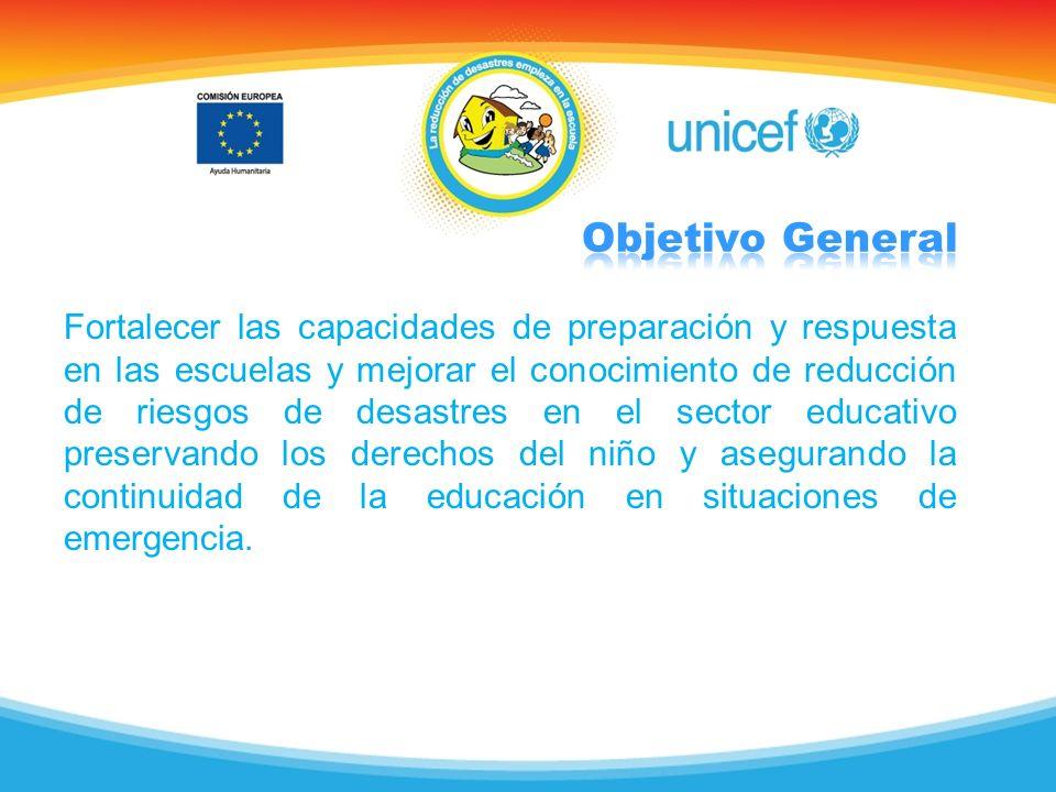 Fortalecer las capacidades de preparación y respuesta en las escuelas y mejorar el conocimiento de reducción de riesgos de desastres en el sector educ