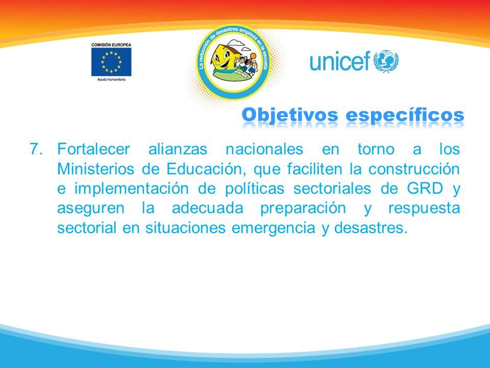 7.Fortalecer alianzas nacionales en torno a los Ministerios de Educación, que faciliten la construcción e implementación de políticas sectoriales de G