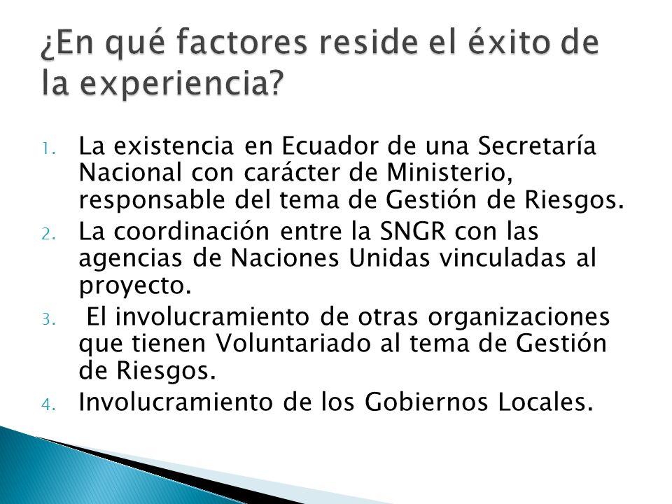 1. La existencia en Ecuador de una Secretaría Nacional con carácter de Ministerio, responsable del tema de Gestión de Riesgos. 2. La coordinación entr