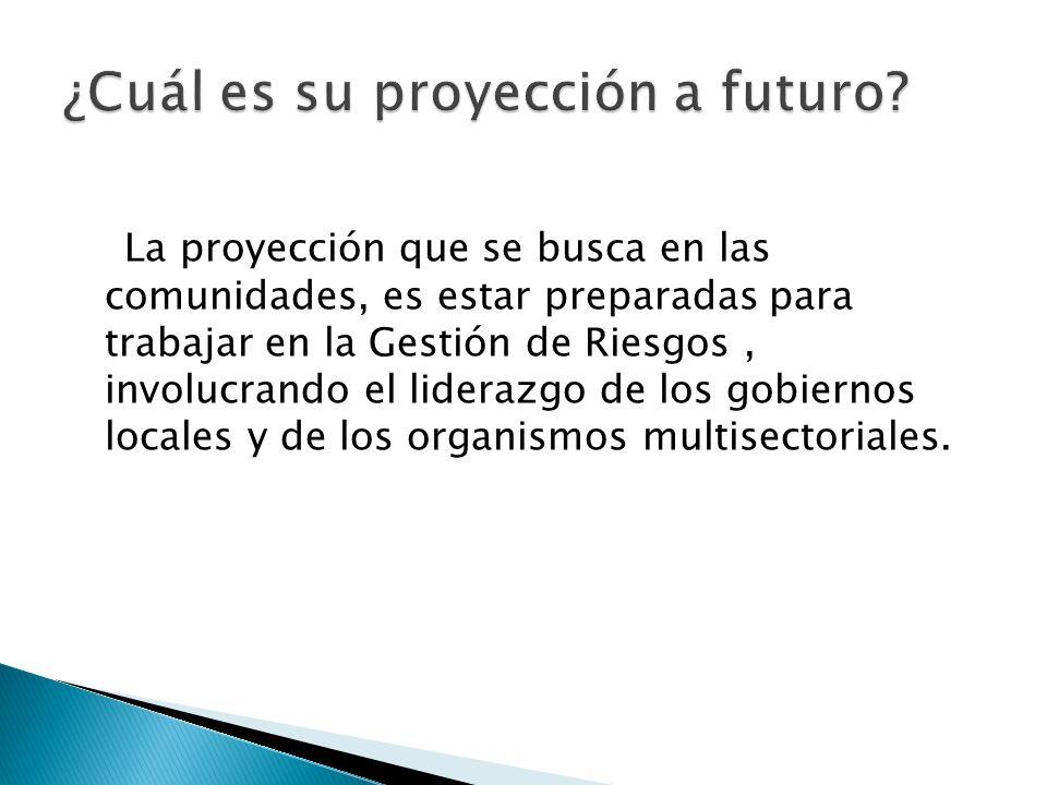 La proyección que se busca en las comunidades, es estar preparadas para trabajar en la Gestión de Riesgos, involucrando el liderazgo de los gobiernos