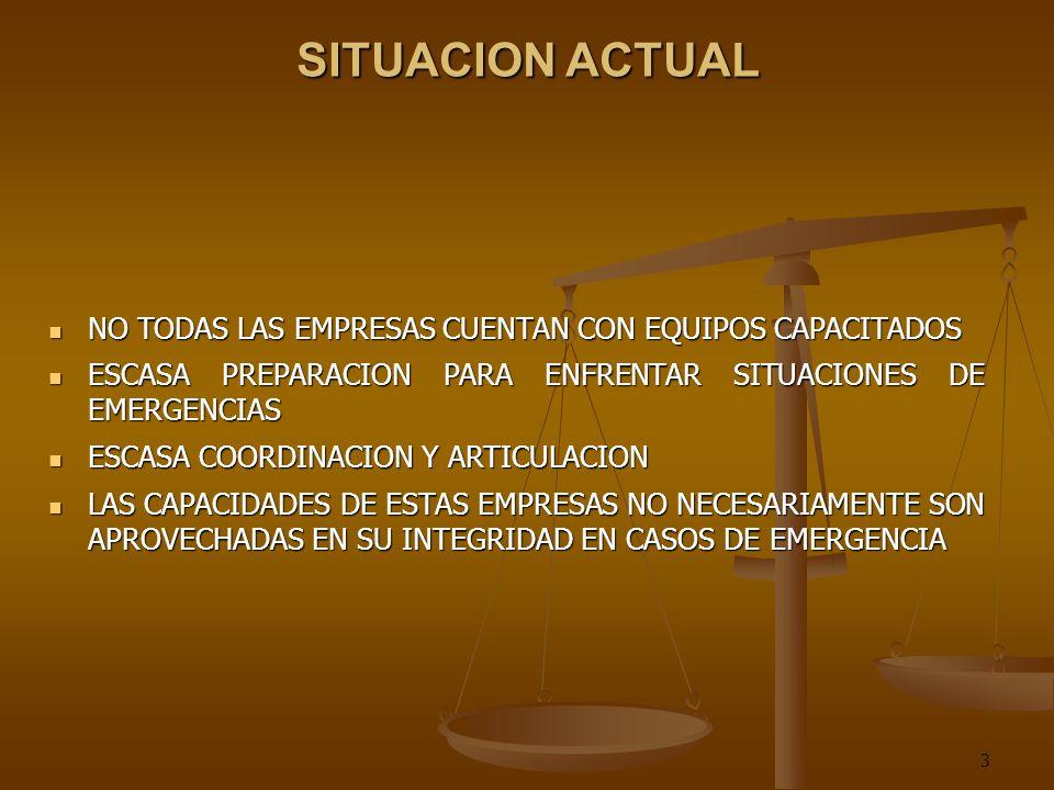 3 SITUACION ACTUAL NO TODAS LAS EMPRESAS CUENTAN CON EQUIPOS CAPACITADOS NO TODAS LAS EMPRESAS CUENTAN CON EQUIPOS CAPACITADOS ESCASA PREPARACION PARA ENFRENTAR SITUACIONES DE EMERGENCIAS ESCASA PREPARACION PARA ENFRENTAR SITUACIONES DE EMERGENCIAS ESCASA COORDINACION Y ARTICULACION ESCASA COORDINACION Y ARTICULACION LAS CAPACIDADES DE ESTAS EMPRESAS NO NECESARIAMENTE SON APROVECHADAS EN SU INTEGRIDAD EN CASOS DE EMERGENCIA LAS CAPACIDADES DE ESTAS EMPRESAS NO NECESARIAMENTE SON APROVECHADAS EN SU INTEGRIDAD EN CASOS DE EMERGENCIA