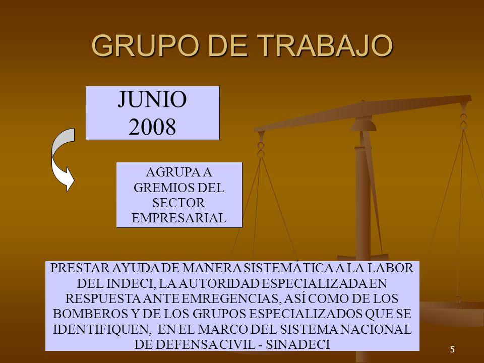 5 JUNIO 2008 AGRUPA A GREMIOS DEL SECTOR EMPRESARIAL PRESTAR AYUDA DE MANERA SISTEMÁTICA A LA LABOR DEL INDECI, LA AUTORIDAD ESPECIALIZADA EN RESPUESTA ANTE EMREGENCIAS, ASÍ COMO DE LOS BOMBEROS Y DE LOS GRUPOS ESPECIALIZADOS QUE SE IDENTIFIQUEN, EN EL MARCO DEL SISTEMA NACIONAL DE DEFENSA CIVIL - SINADECI GRUPO DE TRABAJO