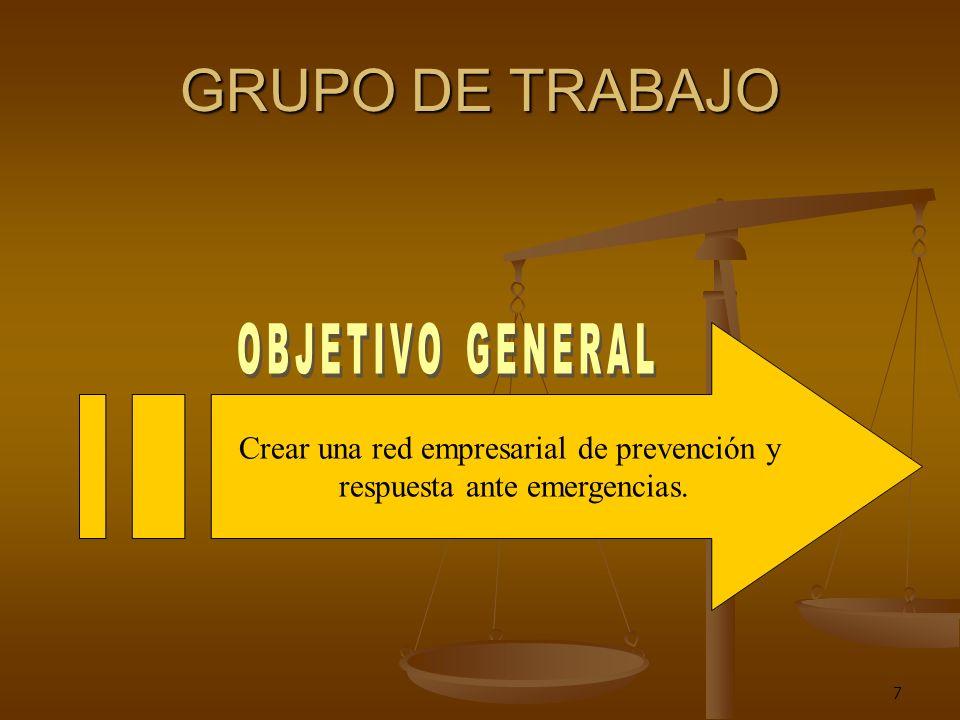 7 GRUPO DE TRABAJO Crear una red empresarial de prevención y respuesta ante emergencias.