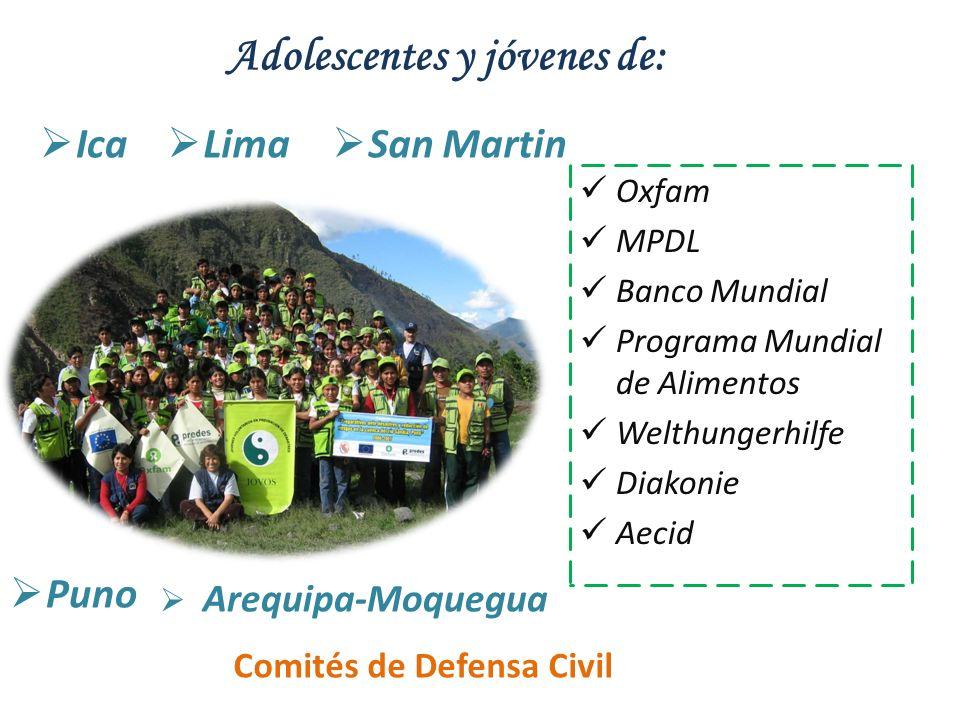 Adolescentes y jóvenes de: Lima Ica San Martin Puno Arequipa-Moquegua Oxfam MPDL Banco Mundial Programa Mundial de Alimentos Welthungerhilfe Diakonie
