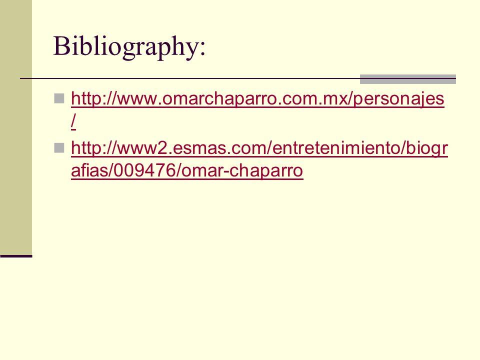Bibliography: http://www.omarchaparro.com.mx/personajes / http://www.omarchaparro.com.mx/personajes / http://www2.esmas.com/entretenimiento/biogr afia
